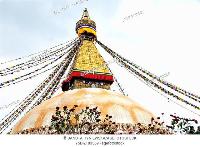 Great stupa, Boudhanath also called Boudha, Bouddhanath or Baudhanath, Kathmandu, Nepal