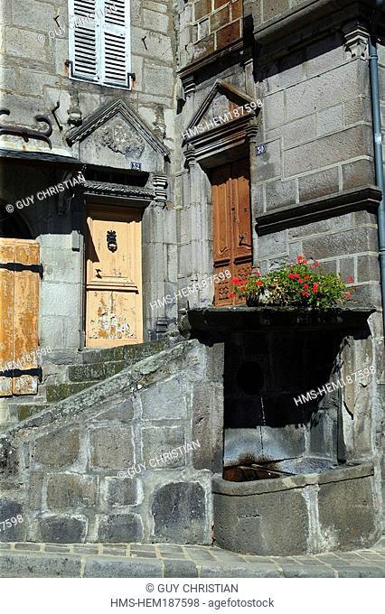 France, Cantal, monts du Cantal, parc des volcans d' Auvergne, Murat village, façade detail