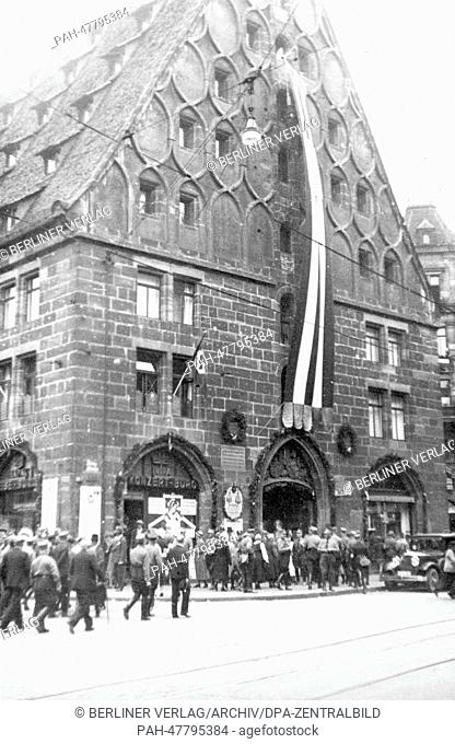 Nuremberg Rally 1933 in Nuremberg, Germany - Members of the SA (Sturmabteilung) in front of the building Mauthalle in the old town of Nuremberg