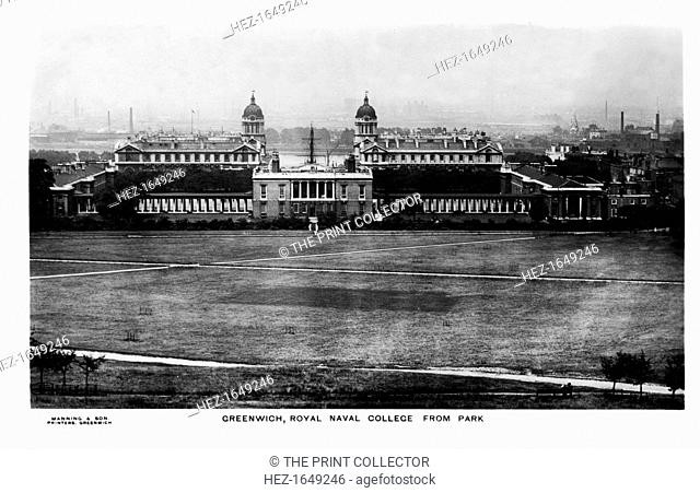 The Royal Naval College at Greenwich, London, early 20th century. As seen from Greenwich Park