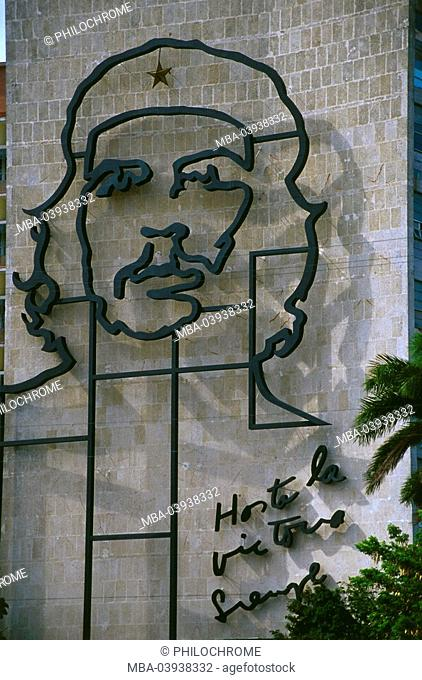Cuba, Havanna, buildings, Plaza de la revolution department of the Interior facade Ernesto Che Guevara Central America, city, capital, cult, politics, place