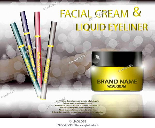 Glamorous facial cream jar and liquid eyeliner on the sparkling effects background. Mockup 3D Realistic Vector illustration for design, template