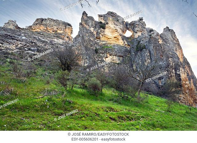 Cliffs in the Dulce river gorge in Pelegrina. Guadalajara. Castilla la Mancha. Spain