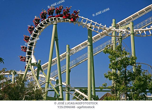 Isla Magica (Magic Island) Theme Park, The Jaguar - roller coaster (and people upside), Seville, Region of Andalusia, Spain, Europe