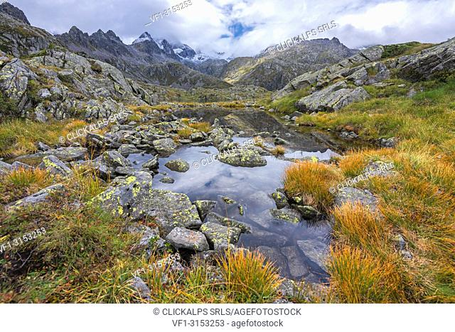 Small lake on the Rhaetian Alps