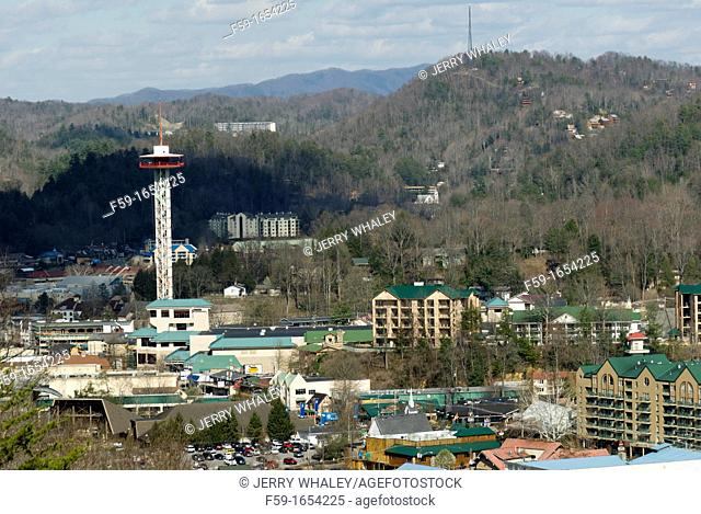 Gatlinburg, Space Needle, Hotels, view from Foothills Parkway, TN