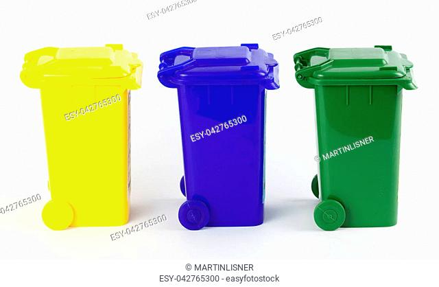 Colorful recycle bins isolated on white.Waste sorting
