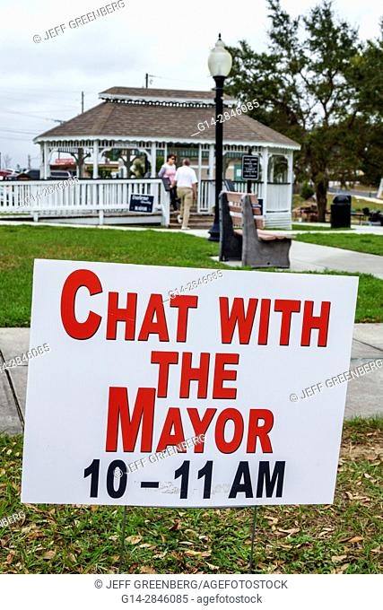 Florida, Davenport, Market Square, small town, historic downtown, gazebo, chat with the Mayor, local election, campaigning