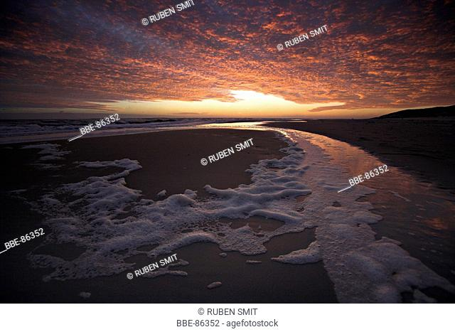 Sunrise over northsea beach on the island of Vlieland