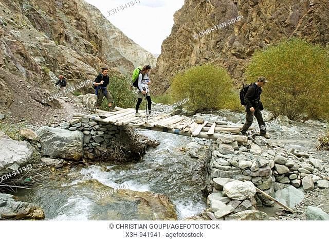 passage du torrent dans la gorge de Zingchen,ladakh,jammu et kashmir,inde,asie
