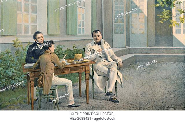 'Las Casas and His Son Writing The History of Napoleon Under His Dictation', c1815, (1896). Artist: Unknown