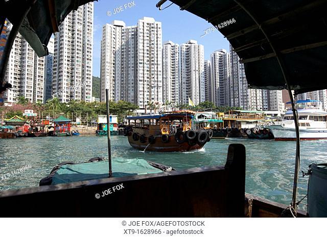 sampan boat trip around the floating village in aberdeen harbour hong kong hksar china asia