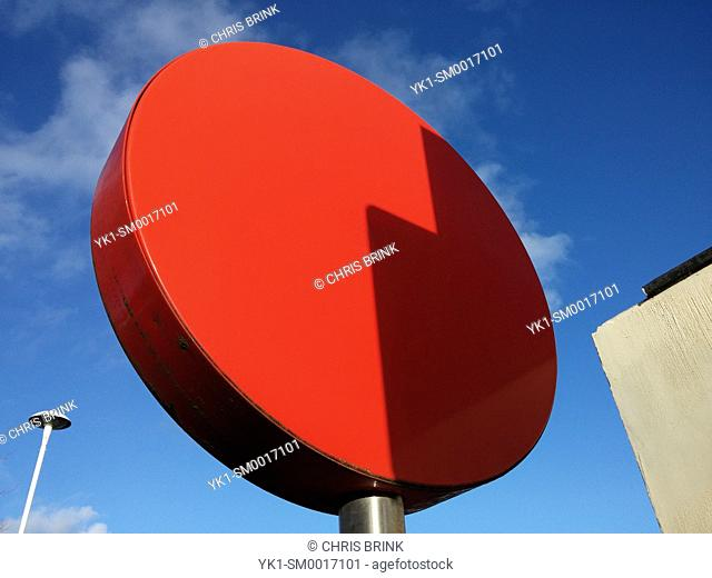 Back of a red traffic sign UK