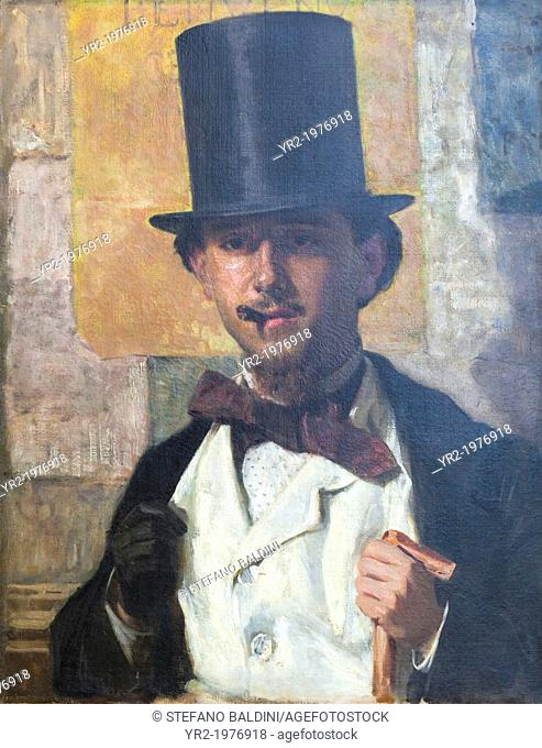 Portrait of Bernardo Celentano, 1859, Domenico Morelli, 1823-1901, oil on canvas, 67x52 cm, national gallery of modern art, Rome, Italy