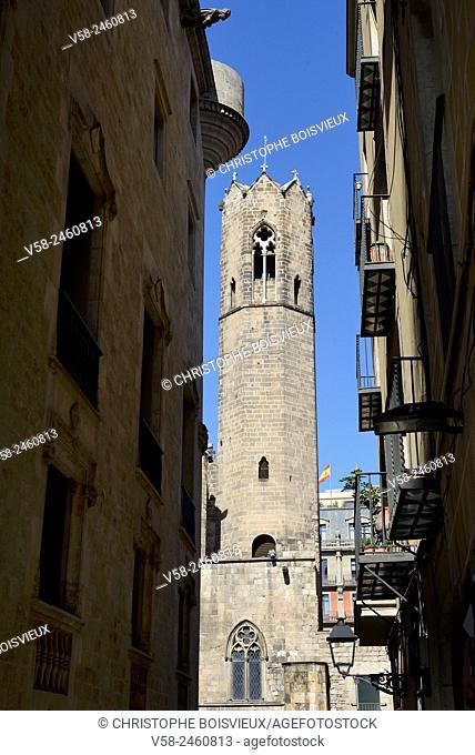 Spain, Catalonia, Barcelona, Barrio gotico (Gothic quarter), Royal chapel of Santa Agata (14th C)