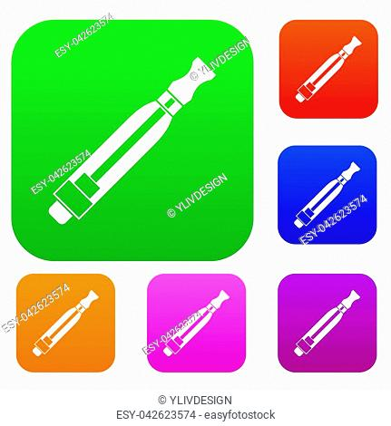 Clearomizer set icon in different colors isolated illustration. Premium collection