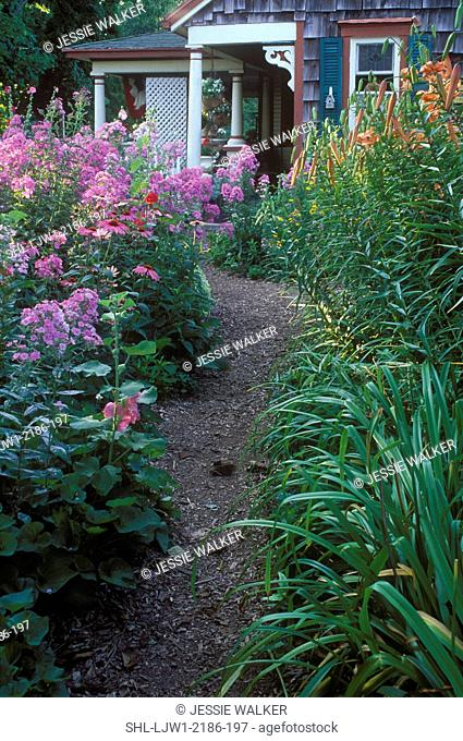 GARDENS: Curving path through a country garden filled with Pink Phlox and Lillys, view towards country house, bark path, partial porch showing