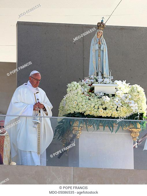 Holy Mass celebrated by Pope Francis (Jorge Mario Bergoglio) in the square in front of the Sanctuary of Fatima on the occasion of the canonization of the...