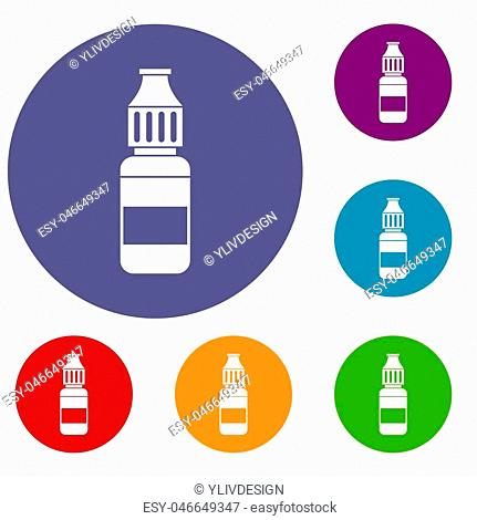 Liquid for electronic cigarettes icons set in flat circle reb, blue and green color for web