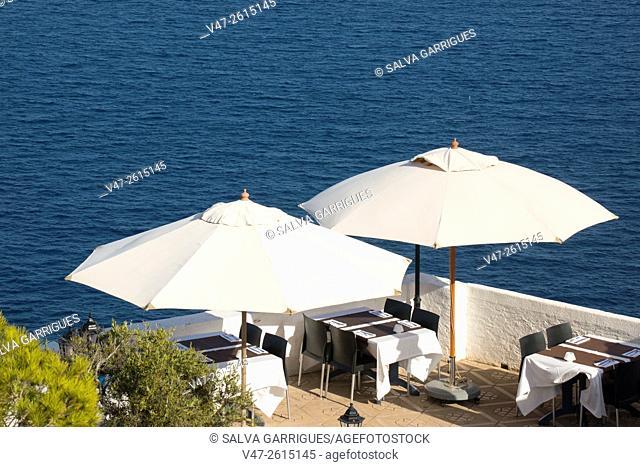 Terrace of a restaurant in the Cabo de La Nao, Javea, Xabia, Alicante, Spain, Europe
