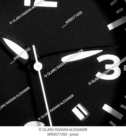Black and white clock. Time running concept