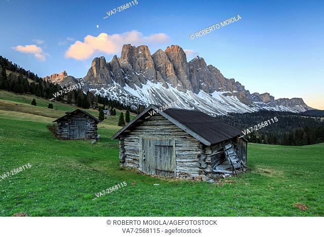 The group of Odle views from Gampen Malga at dawn. Funes Valley. Dolomites South Tyrol Italy Europe