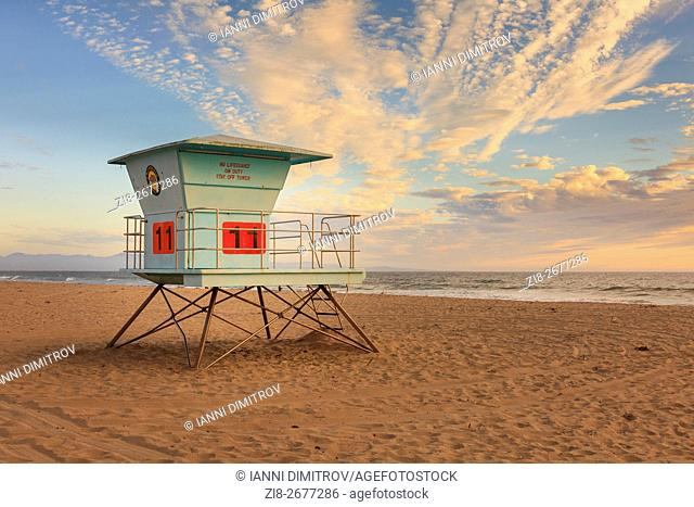 Lifeguard tower,Monterey Bay,California,USA