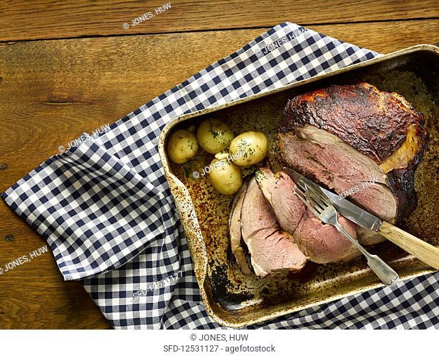 Slow Roast Lamb With Mustard Glaze