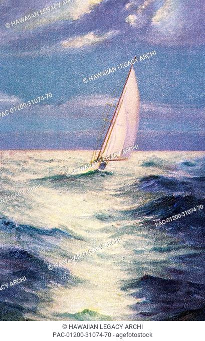 c.1935, Art by Chas Marer, Sailboat on calm ocean with moonlight reflections
