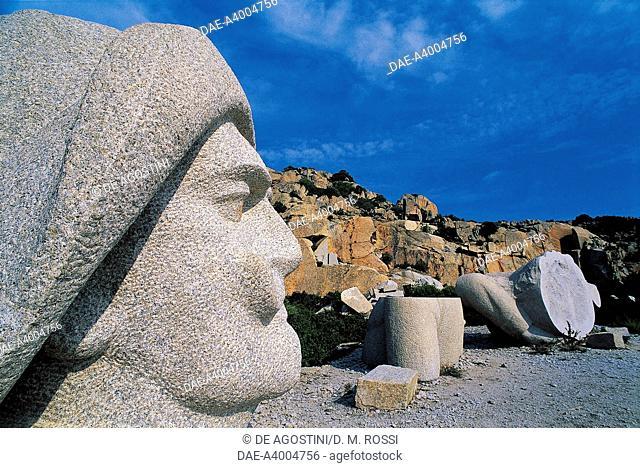 Partially worked blocks of stone and the unfinished statue of Costanzo Ciano (Livorno, 1876-Moriano Bridge, 1939), Italian soldier and politician