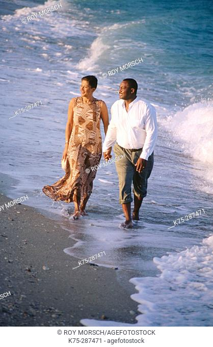 Couple strolling down the beach