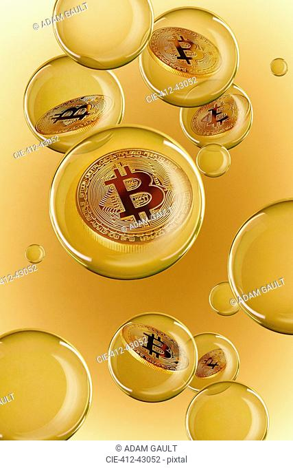 Bitcoins in golden bubbles