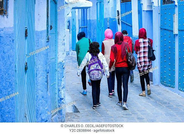 Chefchaouen, Morocco. Teenage Girls Walking Home after School