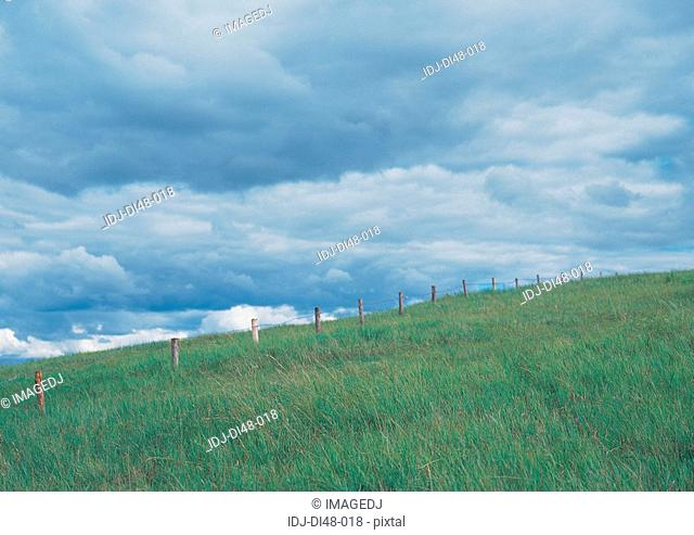 Plain with fences under cloudy sky