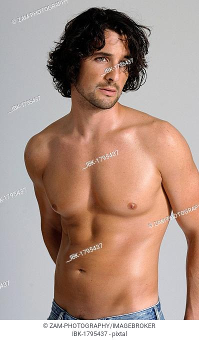 Athletic man, early 30's, bare-chested