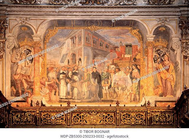 Spain, Andalusia, Seville, Iglesia de la Magdalena, church, interior, fresco