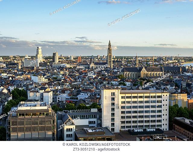 City Center Skyline at sunset, elevated view, Antwerp, Belgium
