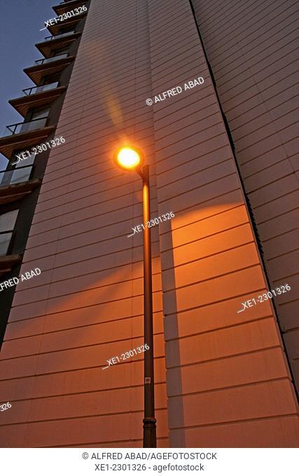 Lamp on, Villa Olimpica Vall d'Hebron, Barcelona, Catalonia, Spain