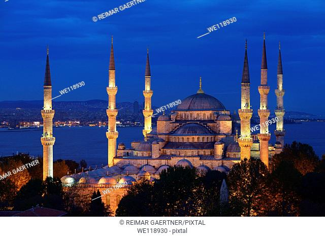 Blue Mosque with lights at dusk on the Bosphorus Sultanahmet Istanbul Turkey
