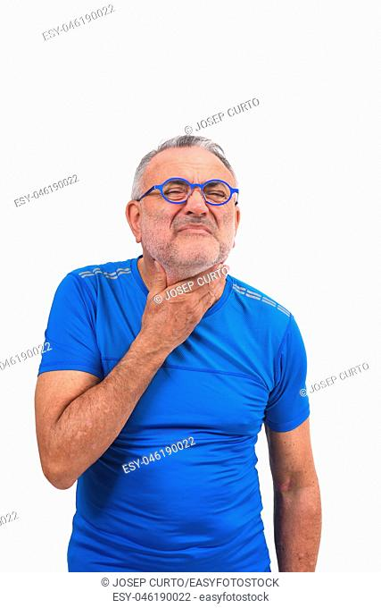man with neck on white background
