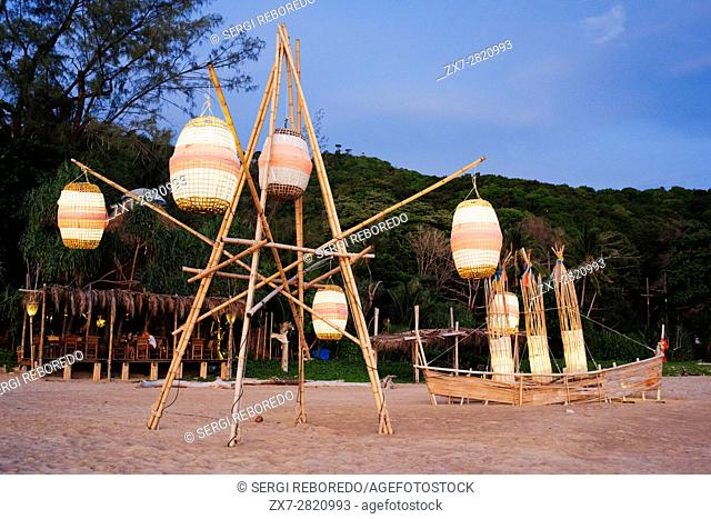 Paper lights and sunset in the beach. Kantiang Bay. Koh Lanta. Thailand. Asia. NOON Sunset Viewpoint Restaurant. Kantiang Bay is most famous as the location of...