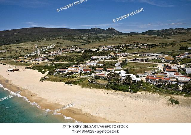 Bolonia little village's beach, Chiringuitos, Aerial view. Tarifa, Cádiz area, Spain