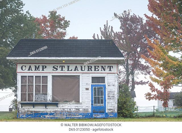 Canada, Quebec, Mauricie Region, Champlain, old building with Camp St- Laurent sign