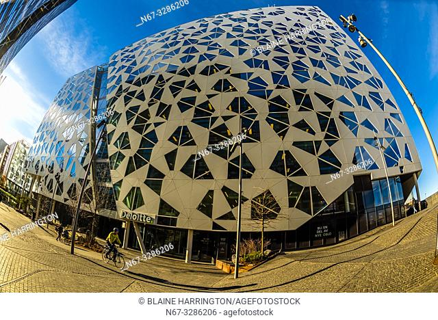 The Deloitte Norway building. The Barcode Project is a section of the Bjørvika portion of the Fjord City redevelopment on former dock and industrial land in...