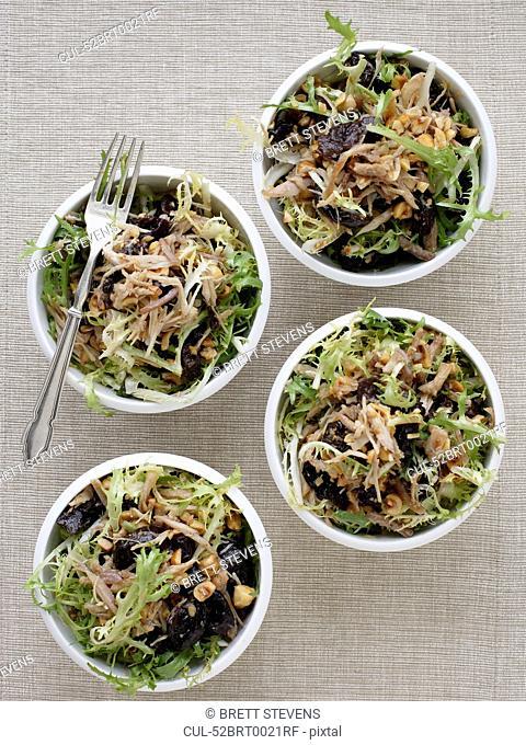 Bowls of endive and hazelnut salad