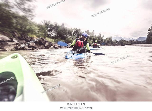 Germany, Bavaria, Allgaeu, kayakers on river Iller