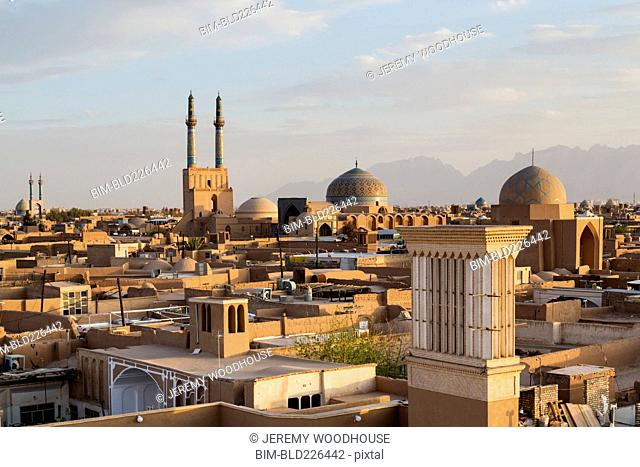 Cityscape at sunset, Yazd, Iran