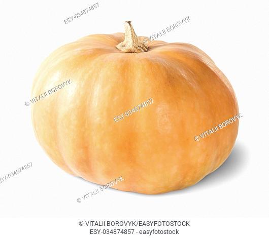 Single Orange Pumpkin Isolated On White Background