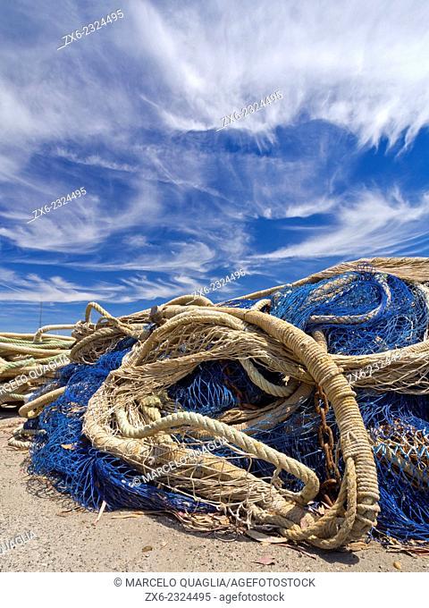 Fishing net pile at Sant Carles de la Rapita pier. Ebro River Delta Natural Park, Tarragona province, Catalonia, Spain