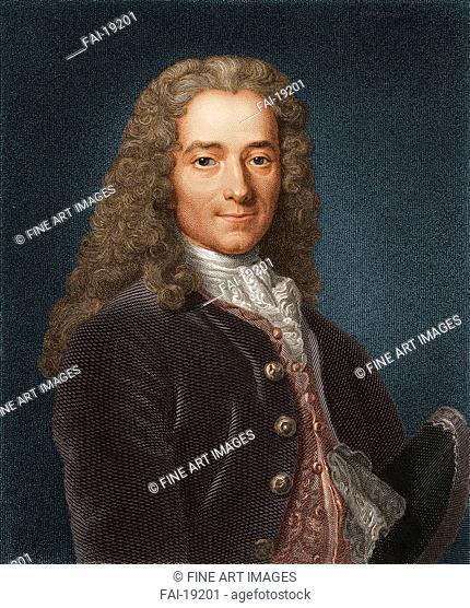 Portrait of the writer, essayist and philosopher Francois Marie Arouet de Voltaire (1694-1778). Anonymous . Mezzotint. Rococo. 1730s